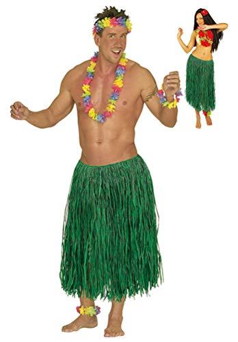 Karneval-Klamotten Hawaii Kostüm Hawaii-Rock Damen Herren Bast grün 78 cm. Einheitsgröße