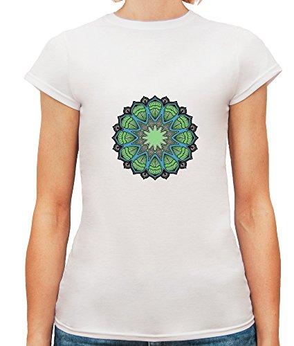Mesdames T-Shirt avec Green Ornament Mandala Illustration imprimé. Blanc