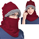 Red Winter Hats for Women Fleece Balaclava Hood Thermal Womens Balaclavas Ear Warmers Ski Face Cover Mask Neck Protective Headgear Cap Snowboard Weather Outdoor Fashion Gifts Ladies Men Warm Hat Caps