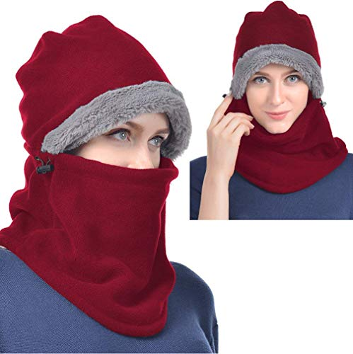 Red Winter Hats for Women Fleece Balaclava Hood Thermal Womens Balaclavas Ear Warmers Ski Face Cover Mask Neck Protective Headgear Cap Snowboard Weather Outdoor Fashion Gifts Ladies Men Warm Hat Caps -
