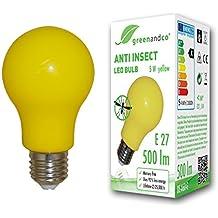 greenandco® Bombilla anti-mosquitos, anti-insectos E27, amarilla, 5W,