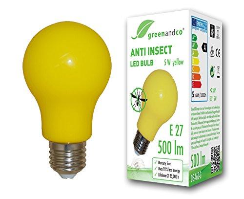 greenandco Anti-Insekten LED Glühbirne E27, 560-580nm Wellenlänge, Gelb, Nicht dimmbar, 2 Jahre Garantie