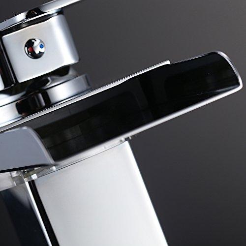 Homelody – Wasserfall-Waschtischarmatur, Einhebel, LED-Beleuchtung, Temperatur-Farbwechsel, Chrom - 8