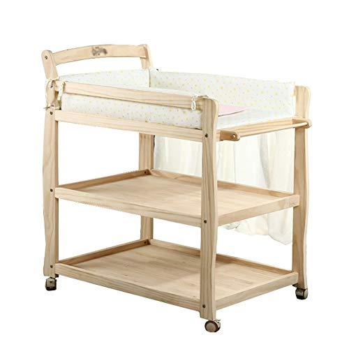 Table à Langer en Bois, Portable, Hauteur Réglable, Commode avec Couche pour Bébé avec Roues (Couleur Bois)