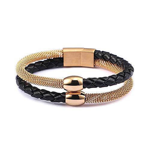ZHHAOXINJE Minimalist Titan Stahl Armband, Titan Stahl Herren Leder Armband Magnetschnalle Armband, Geburtstage, Jahrestage oder eine Überraschung 215 * 12mm für Männer Damen, Gold - Damen Intim Leder Schwarz
