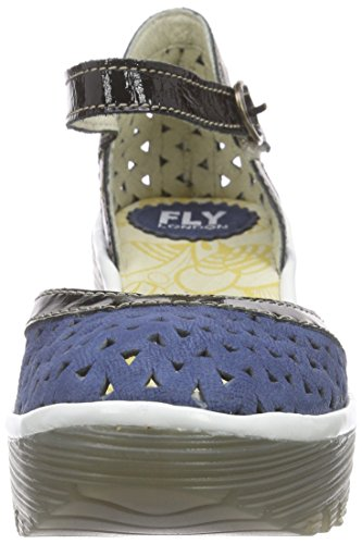 FLY London Yude646fly, Sandales  Bout ouvert femme Multicolore - Mehrfarbig (BLUE/BLACK/OFF WHITE 004)