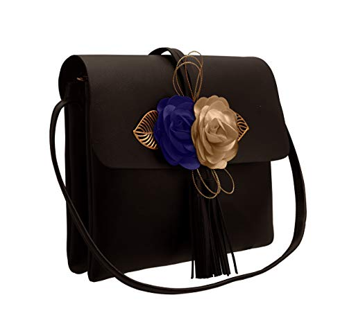 ... TAP FASHION Fancy Stylish Party Wear Women s Sling Bag With 3d Rose  Flower (Black b3e5b634dd457