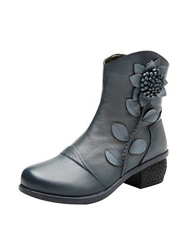 Youlee Damen Winter Blume gedruckt Seitlicher Reißverschluss Stiefel Blau