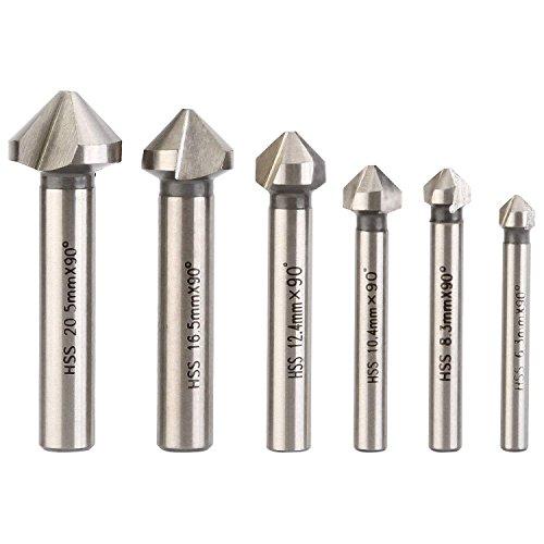 6 Stück HSS Senkbohrer Set 3 Flute 90 Grad Holz Metall Bearbeitung Faser Fräser Werkzeug Kegelsenker Satz Versenkbohrer 20,5mm 16,5mm 12,4mm 10,4mm 8,3mm 6,3mm