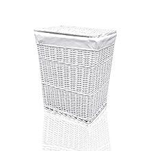 Arpan Medium White White Wicker Washing Cloth Basket With White Lining