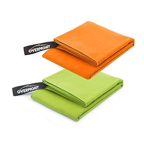 Overmont 2 x Serviette Séchage Rapide 110 x 50 cm en Microfibre ultra-légère portable pour camping, randonnée, sport, natation, plage etc.