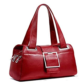 DDHZTA European And American Style Leather Handbags Handbags Fashion Wild Pillow Bag Shoulder Bag Multi-Color Optional,Red