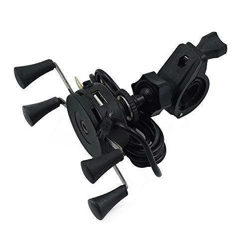 """XIANGBAO-Komponenten Universal Components Motorrad und Fahrrad Handyhalter Ständer Halterung mit USB-Ladegerät für Griff 7/8""""1 1/8"""" Einfach zu installieren (Color : Schwarz)"""