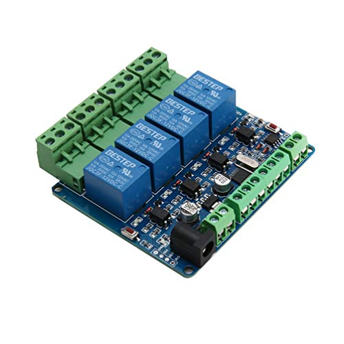Input - / Output-modul (CHOULI Modbus Rtu 4 Channel 12V Relay Output Board Module Switch Input Rs485 / TTL Green)