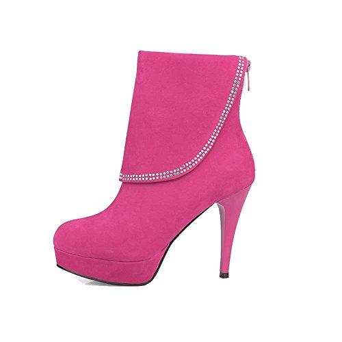 AgooLar Damen Eingelegt Nubukleder Hoher Absatz Reißverschluss Rund Zehe Stiefel Rosa