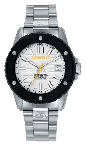 Caterpillar SHOCKMASTER CA1014 - Reloj analógico de caballero de cuarzo con correa de acero inoxidable plateada