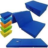Colchón plegable con funda de microfibra - Cómodo colchón para invitados, funciona tanto como colchón para visitas, para viajes o para acampadas, Color:Azul oscuro, Talla:120 x 60 x 6 cm