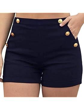 DOGZI Mujer Verano Tallas Grandes Pantalones Cortos Color Sólido Mujer Pantalones Anchos Casual Floral Alto Pantalón...