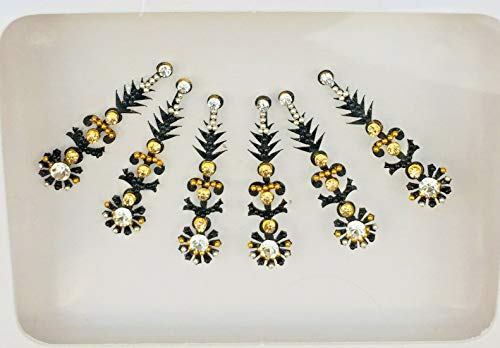 BB198 Schwarz Bindi Gold Silber StonePearl Perlenstickerei Bindi Tattoo Stirn Aufkleber Hochzeit Tikka indische Fantasie-Partei-arabisches Gesicht Gem Körperkunst