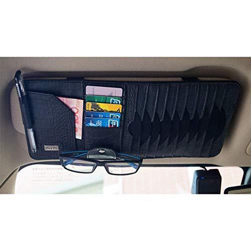 Mirage Auto Sonnenblende Veranstalter Bord Elektronische Zubehör-Speicher-Halter for Multi-Funktions-Karte CD-Sammlung Auto universal, Schwarz (Color : Black)