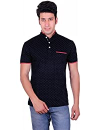 Vivid Bharti Men's White Dots Print Navy T-shirt