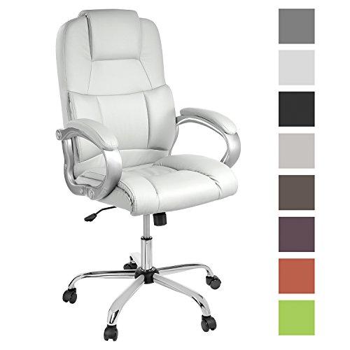 Preisvergleich Produktbild TPFLiving bequemer Premium XXL Bürostuhl Chefsessel Schreibtischstuhl DENVER weiß belastbar bis 210 kg hochwertig Kunstleder Wippfunktion stabile Castor Rollen in 8 Farben wählbar
