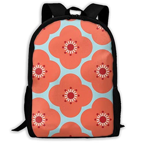 Bloom Clouds - Coral Blue_3448 Klassischer Rucksack Reise Laptop Rucksack, College School Student Rucksack für Männer und Frauen -