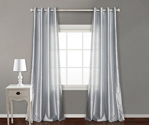 Pimpamtex - tenda satinata per soggiorno, camera da letto, tende moderne semitrasparenti con 8 occhielli, 140 x 260 cm, modello bon (grigio perla, 2)