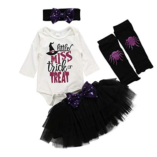 Kostüm Niedliche Für Erwachsene Tutu - Kreative Kinderferien Set Niedliches Halloween-Kostüm mit Briefaufdruck Langarm Tutu Kleid Strampler Einfarbig Bogen Dekoration Party Abendkleid Top + Rock + Haarband + Socken Set