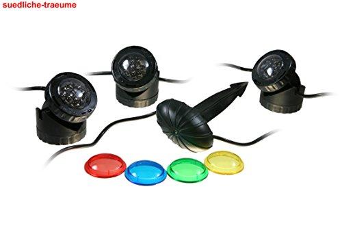 OSAGA Unterwasser u. Garten Teichbeleuchtung mit 4 verschiedenen Farbscheiben