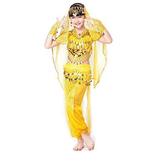 Wgwioo 6 Stücke Satz Bühnenleistung Indisches Kostüm Für Kinder Bauchtanz Tragen Kindertag , Yellow Six Pieces , (Size Indischen Kostüme Plus)