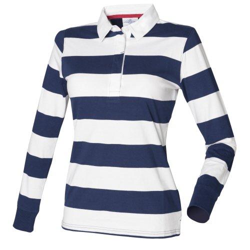 Front Row Damen Rugby Polo Shirt Gestreift Langarm (2XLarge) (Marineblau/Weiß) (Rugby-shirt Gestreiftes)