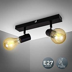 B.K.Licht Plafonnier/applique murale, spot bar design rétro, 2 spots orientables & pivotants, luminaire plafond vintage noir, douilles E27, 60 Watt max, ampoules non fournies