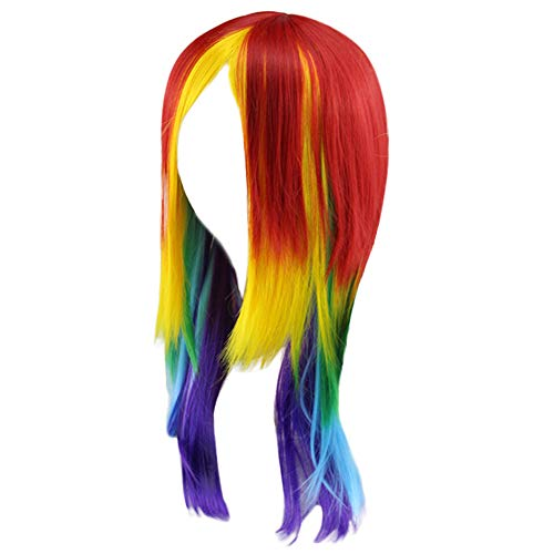 Damen Mein kleines Pony Rainbow Dash Cosplay Perücke Pferdeschwanz Multi Color Synthetic Full Long (Rainbow Erwachsenen Dash)
