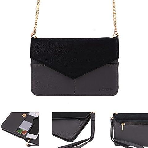Conze Mujer embrague cartera todo bolsa con correas de hombro compatible con Smart teléfono para Alcatel OneTouch Pop Star (3G)/(4G) gris
