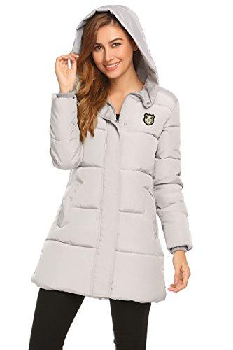 SOTEER Damen Winterjacke Steppjacke Leicht Baumwoll Wattierte Jacke Mit Kapuzen Casual Cool Stil Jacket Warm Outwear Hellgrau-TYP1