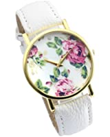 Better Dealz Vintage Blume Damen Armbanduhr Basel-Stil Quarzuhr Lederarmband Uhr Top Watch #3,weiß