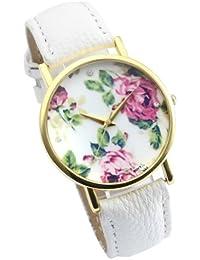 Better Dealz Vintage Blume Damen Armbanduhr Basel-Stil Quarzuhr Lederarmband Uhr Top Watch #3,weiß