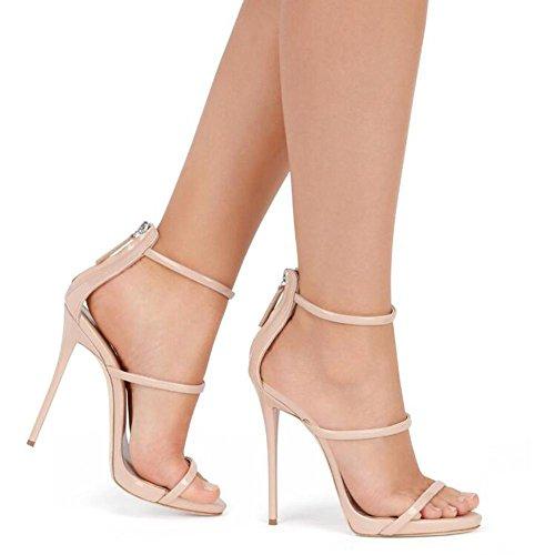 L@YC Sacche aperte Della Pelle Luminosa Degli alti Talloni Delle Donne Con La Pompa Del Vestito Da Ballo Dei Sandali 1