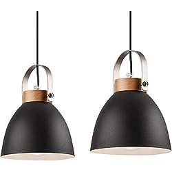 Lámpara colgante Lámpara de techo lámpara de metal E27 lámpara vintage lámpara industrial moderna con cable lámpara vintage para sala de estar/cocina/consultorio/médico (Grafito, 2 llamas)
