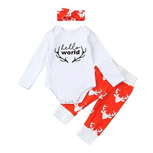 Crew Kids Kleidung (Kleinkind Kleidung Btruely Boy Langarm Baby Clothes Set Brief Spielanzug + Hosen Kappe Outfits Kinder (100, Weiß.))