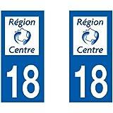 Autocollant plaque immatriculation pour Auto Centre département - Centre / 18 Cher