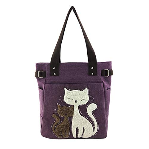 MoGist Strandtasche mit Reissverschluss Nettes Karikatur Katzen Stickereimuster Canvas Handtasche Damen Shopper Schultertasche Umhängetasche (Lila)