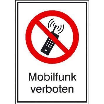 Preisvergleich Produktbild Mobilfunk verboten Verbotsschild, selbstkl. Folie , Größe 13,10x18,50cm