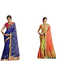 Mantra Fashions Women's Georgette Saree(Mant44_Multi)-Pack of 2