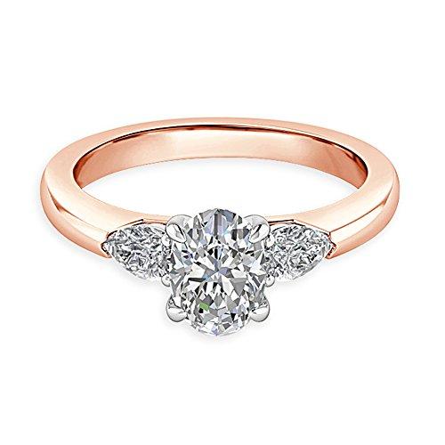 2,50CT Ovalschliff Diamant Engagement Hochzeit Ring 14K Solid Rose Gold Gr. I, J, K L M N O P Q R S T