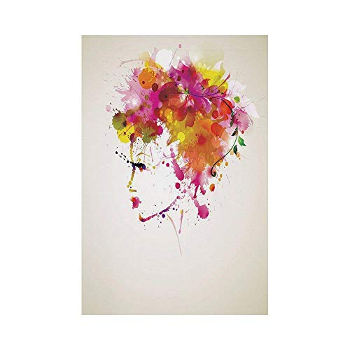 Liumiang Eco-Friendly Manual Custom Garden Flag Demonstration Flag Game Flag,Abstract,Watercolor Portrait of a Woman with Artsy Floral Hairstyle Paint Splatters Decorative,Orange Pink Greeno d¨¦COR