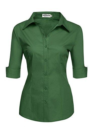 - Knopf-manschette-button-down-hemd (HOTOUCH Damen Shirt Kurzarm Schlank Hemd Arbeitshemd mit Knöpfen Casual Einfarbig Oberteil Bluse Sommer Armeegrün XL)