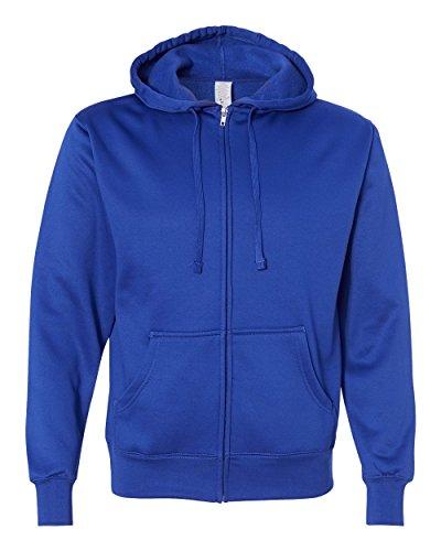 Independent Trading Co. Poly-Tech Hooded Full-Zip Sweatshirt (EXP444PZ) -Classic Ro -S Twill Hooded Fleece-sweatshirt