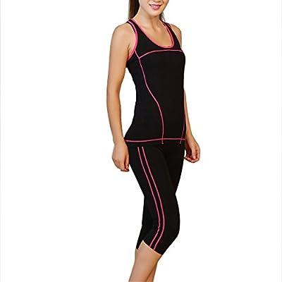 Encounter Damen Sportbekleidung Set Yoga Gym Fitness Shirt Tank Top und Yoga Capri Hosen Leggings Set